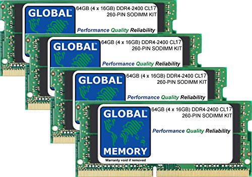 64GB (4 x 16GB) DDR4 2400MHz PC4-19200 260-PIN SODIMM MEMORY RAM KIT FOR LAPTOPS/NOTEBOOKS