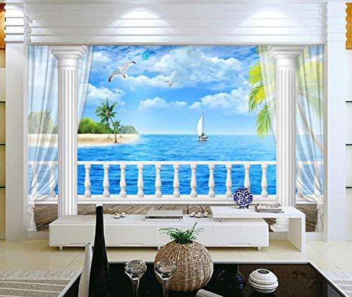Ptcta 3D-Vlies-Tapete Frisches und stilvolles Zimmer mit Meerblick Bild-in-Bild-3D-TV-Hintergrundwand 450-480cm(W) x 290cm(H)