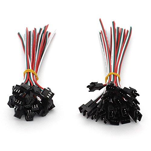 VIPMOON 20Pairs JST SM 3PIN Stecker Männlich zu Weiblich EL Draht Kabel Stecker Adapter