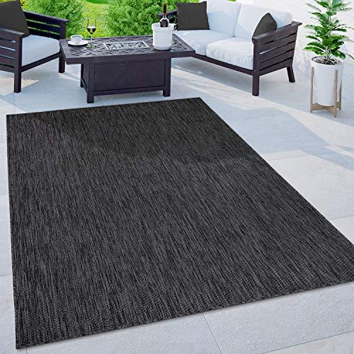Paco Home In-& Outdoor Teppich Balkon Terrasse Küchenteppich Einfarbig Meliertes Muster, Grösse:140x200 cm, Farbe:Anthrazit