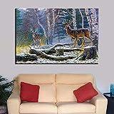 GJQFJBS Hd Print Leinwand Wohnzimmer Bild Wald Tier Fluss