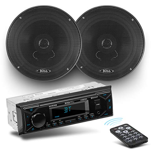 BOSS Audio Systems 628BCK Car Receiver and Speaker Package – Single-Din, Bluetooth Audio and Hands-Free Calling, USB, AM/FM, Aux-in, No CD Player, Two 6.5 Inch Speakers