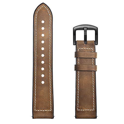 LWHAMA Lwwhama Correa de Cuero marrón Negro para el Reloj OPPO Reloj de reemplazo de 46 mm Cinturón de Pulsera de la Banda para el Reloj OPPO Watch 41mm Smart Watch Pulsera