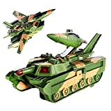 Convertible Tank & Airplane Jet Fighter Toy The Tank converts itself into a Jet Fighter Plane after you switch it On. Equipped with a Shooting Sound. And the product changes its course when met with an obstacle (Bump & Go). Ideal for Gifting Purposes...