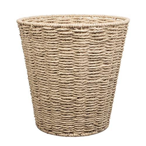 Woodluv Round Waste Paper Basket Bin - Rubbish Bin for Bedroom, Bathroom, Offices or Home