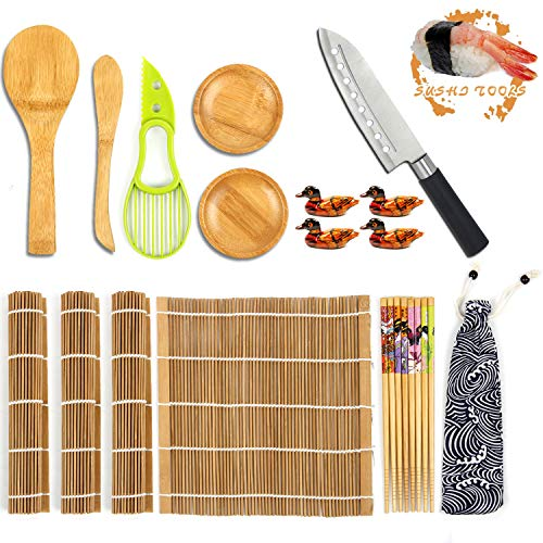 Yarbee Sushi Making Kit, Including 4 Bamboo Sushi Rolling Mats, 4 Pairs of Chopsticks and Chopsticks Holders, 2 Dipping Plates, 1 Avocado Slicer, 1 Paddle, 1 Spreader, 1 Sushi Knife