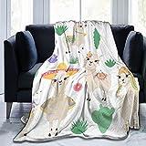 Gadimen Llama Throw Blanket, Super Soft Lightweight Flannel Fleece Blankets for Bed Couch Sofa, All Season Warm Cozy Fuzzy Plush Microfiber Blanket for Hot Sleepers 50x40 inches