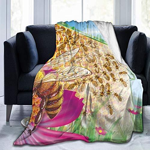 Affordable shop Manta de forro polar de 127 x 152 cm, diseño de abeja con flores de panal de abeja para el hogar, manta de felpa suave y cálida para cama/sofá/oficina/camping