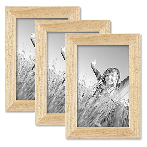 Set de 3 Cadres Photo 10x15 cm pin Naturel Moderne Bois Massif avec vitre et Accessoires/Cadre Photo/Shabby-Chic