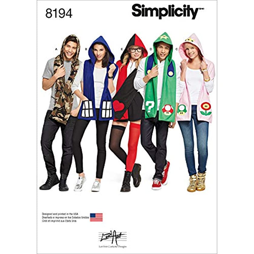Simplicity 8194 Adult and Teen's Hooded Scarf Sewing Patterns, One Size