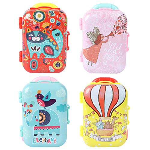 TOYANDONA 4Pcs Mini Suitcase Box Miniature Luggage Box for Doll Role Play Toys Kids Dollhouse Accessories Small Candy Box