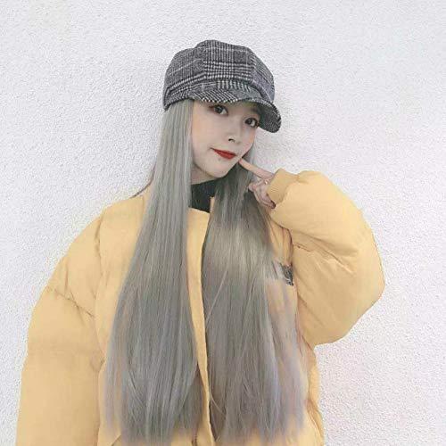 Herbst und Winter Hut Perücke eine weibliche Retro-Check Zeitungsjunge Hut net rot Lange Glatte Haare Chemiefaser volle Kopfbedeckung Sie sind EIN schönes süßes Mädchen