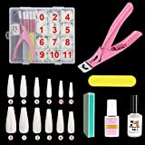 Acrylic Fake Nail Tips Kit,432pcs Natural Full Cover Long False Nail with Nail Glue,Nail Clipper,Nail File,Sponge Polishing,Nail Glue Remover