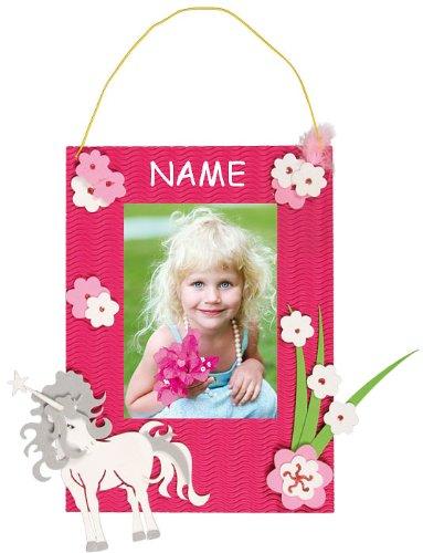 alles-meine.de GmbH Bastelset 3-D Fotorahmen - incl. Name - für das Foto Einhorn pink Mädchen - Bilderrahmen Fotos Schulanfang Foto Kinderzimmer