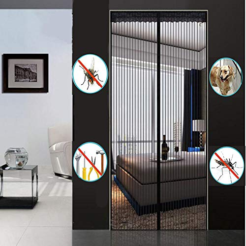 Nileco Magnetisch scherm deur, 31 inch x 78 inch magneet fly screen deur, muggennet om op te hangen volledig frame haken & lus automatisch sluiten voor slaapkamer terras