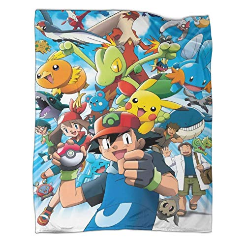 DRAGON VINES Pokémon Pocket Monsters Advanced Generation Ash Ketchum Pikachu Flannel Throws Blanket for Couch Bed Living Room 60x80inch(150x200cm)