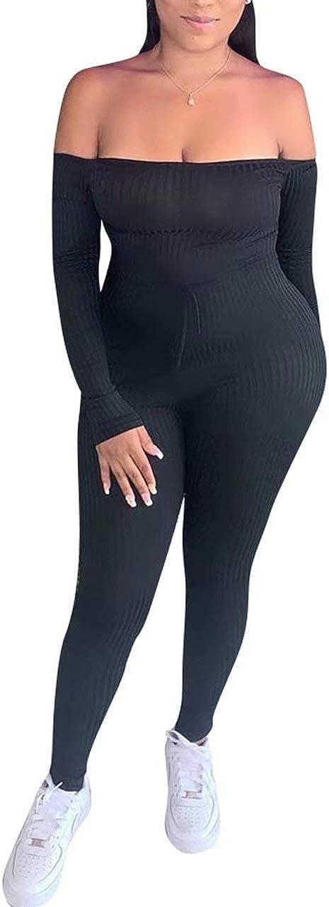 IyMoo Women's Financial sales sale Fashion Long Jumpsu All items free shipping Off-Shoulder Sleeve Drawstring