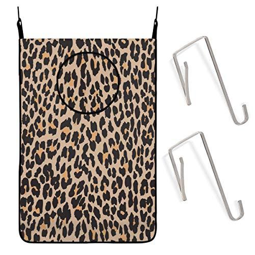 GIERTER Bolsa colgante para cesto de ropa,Animal Print Spotted Leopard Brown Black Bolsa de ropa sucia Almacenamiento Cesta plegable Hanging Con cremallera Cesto de la ropa