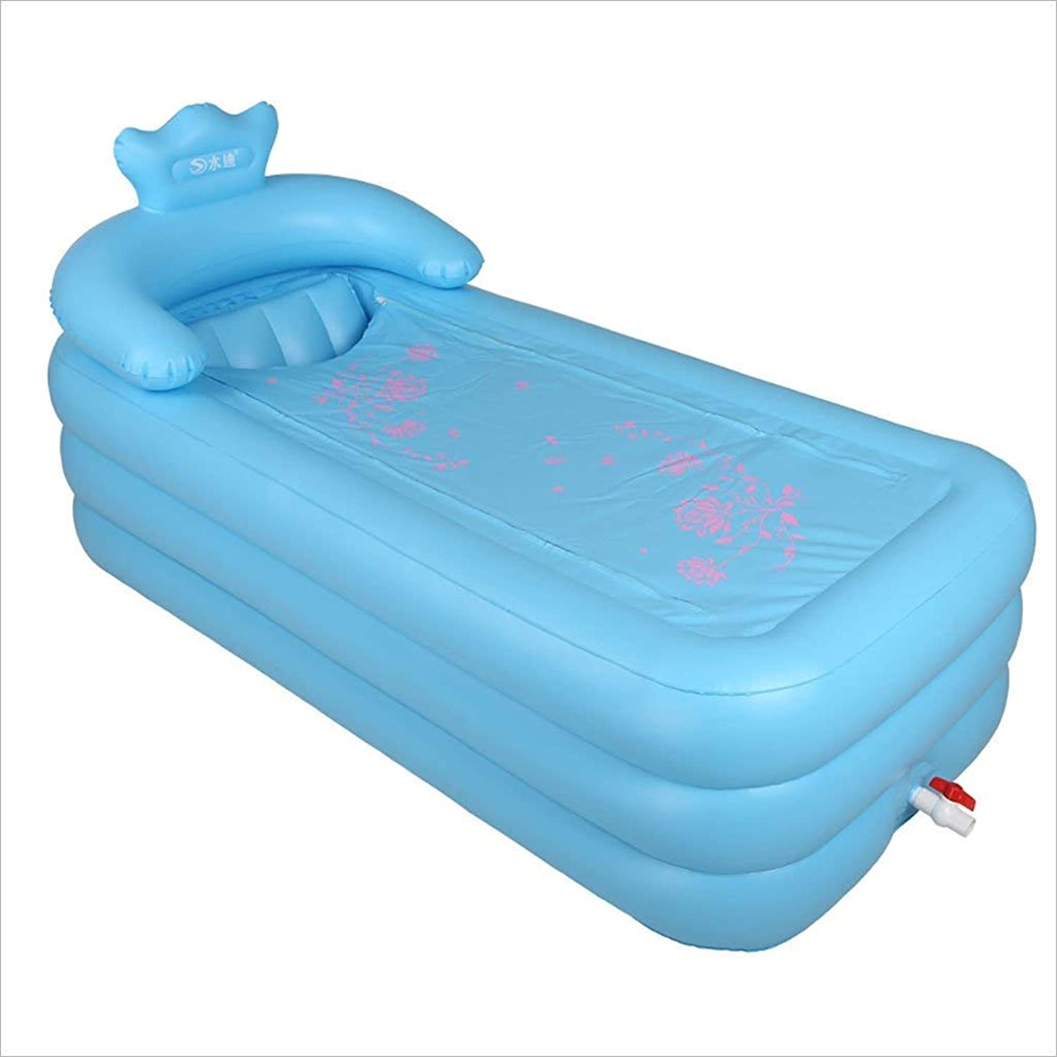 YUANY INFLATABLE BATHROOM Large adult bath with heated bath and inflatable bath (color  bluee sky, size  165  85  45 cm)
