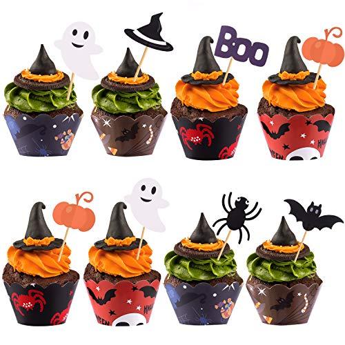TUPARKA 54 Pcs Halloween Cupcake Toppers Halloween Gâteau Wrappers Décorations Araignée Citrouille Fantôme Main Cupcake Décorations Fournitures