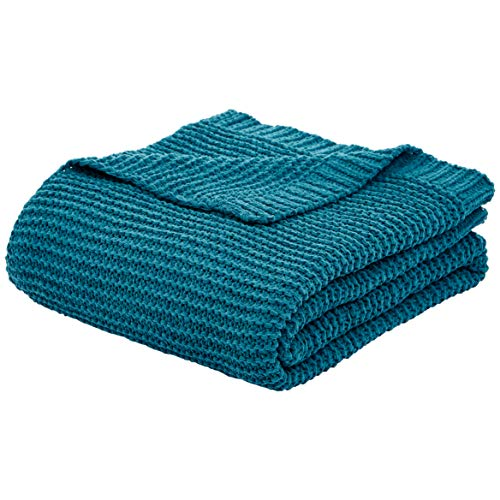 Amazon Basics Knitted Chenille Throw Blanket - 66 x 90 Inches, Teal