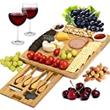 CTFT Cheese Board and Knife Set Bamboo Charcuterie Platter & Serving Tray for Cheese,Wine, Crackers,...