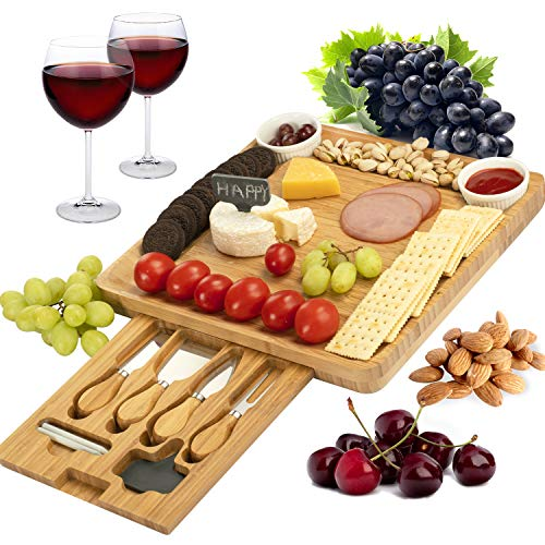 CTFT Cheese Board and Knife Set Bamboo Charcuterie Platter Serving Tray Gifts for Housewarming, Wedding, Wine, Crackers and Meat