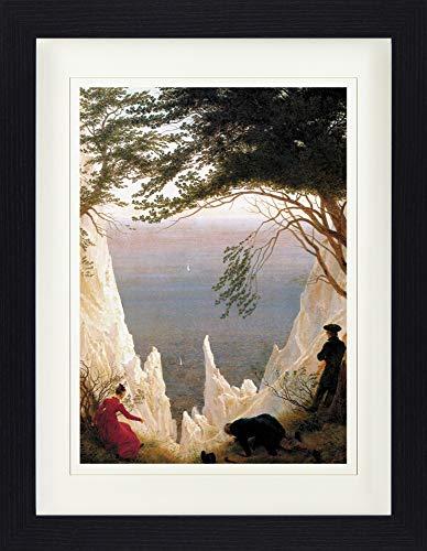 1art1 Caspar David Friedrich - Die Kreidefelsen Auf Rügen, 1818 Gerahmtes Bild Mit Edlem Passepartout | Wand-Bilder | Kunstdruck Poster Im Bilderrahmen 40 x 30 cm