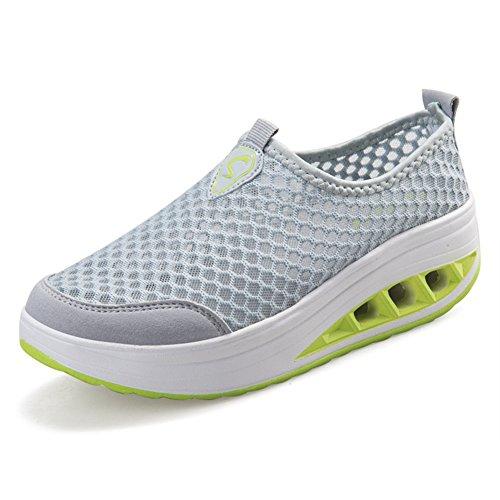 ailishabroy Damen Sommer atmungsaktive Laufschuhe Schlüpfen Sie auf Hollow Floral Wedge Platform Loafers (38, Grau)
