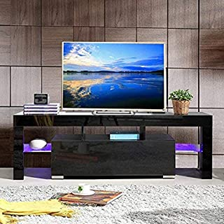 Archi TV Cabinet Media Console Stand LED Shelves with Drawers for Living Room Storage High Gloss for up to 51-inch TV Screens(Black)