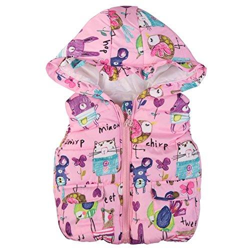 Patgoal Hankyky Baby Mädchen Weste Kunstfell Winter Ohne Arm Gilet Bodywarmer mit Kapuze Kurz(1-6 Jahre) (S(1-2 Jahre), D)