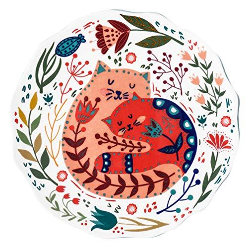 Cabilock Keramik Essteller Süße Katze Tier Stil Runde Servierteller für Pasta Snack Salat für Lebensmittel Steak Dessert Vorspeise Rot Rosa