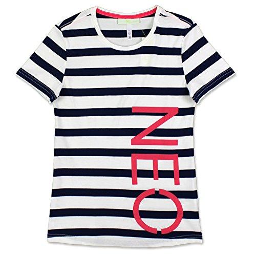 adidas NEO Striped Tee Damen Freizeit & Sport Streifen Shirt Weiss Navy XXS-L, Größe:XXS, Farbe:Dunkelblau/Weiß