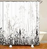 MundW DAS DESIGN Duschvorhang Schwarze Pflanzen Schatten Textil Vorhang Blätter Blumen Farbfest Antischimmel waschbar 12 C-Ringe Gewicht unten 180x200(B*H) cm