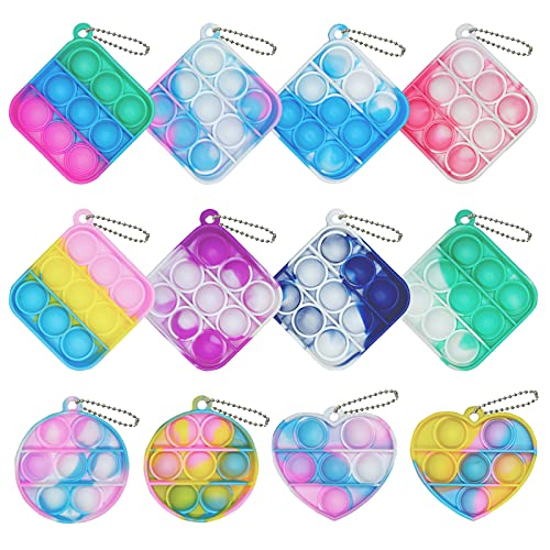 12 Pcs Mini Squeeze Pop Bubble Fidget Sensory Toys, Mini Keychain Silicone Bubble Pop Toy Relieve Anxiety Stress Office Desk Toy for Kids Adult