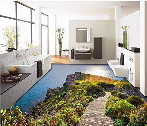 Selbstklebende PVC-Bodenrolle Vintage-Tapete Coast Pier Stone Landscape 3D-Bodenbild