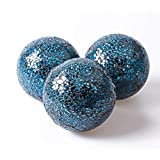 MDLUU 3 Pcs Decorative Glass Balls, Mosaic Sphere, Decorative Orbs, Centerpiece Balls for Bowls, Vases, Dining Table Decor, Diameter 4 Inches (Turquoise)