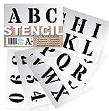Pochoir Lettre Alphabet - Lettrage Pochoir Grands Chiffres et Lettres de L'Alphabet 5cm ROMAIN Majuscules sur 6 feuilles de 20 x 14.8cm