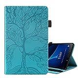 ONETHEFULCarcasaLibroFundaTabletSamsung Galaxy Tab A / A6 10.1' 2016 T580 T585CoverFundasÁrbol de la Vida ProtectorconPU CueroySoporte - Azul