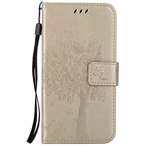 Guran® PU Leder Tasche Etui für Xiaomi Mi5 Smartphone Flip Cover Stand Hülle & Karte Slot Hülle-Gold