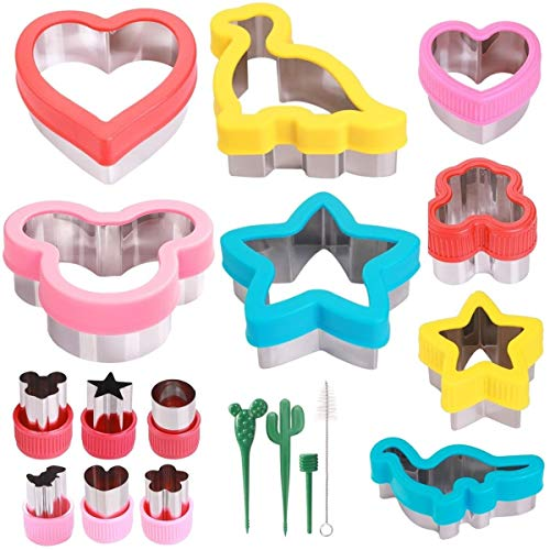 Sandwich Cutters Set for Kids, Holiday Cookie Cutters Vegetable Fruit Cutter Shape for Boys & Girls with Micky Mouse, Dinosaur, Star, Heart Shapes - Food Grade Stainless Steel (14pack)