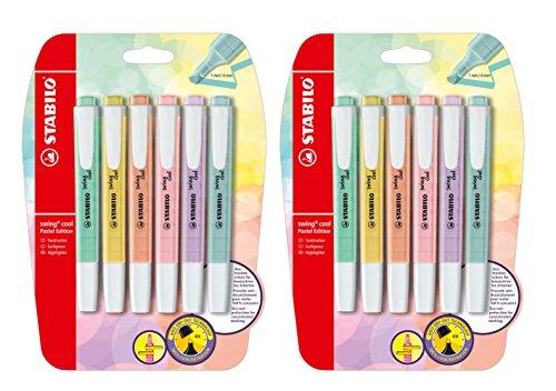 STABILO surligneur swing cool Pastel Edition, Pastell/6 Farben, 2er Pack/6er Blister