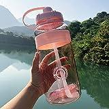 FISISZ 2000ml-600ml Outdoor Fitness Sports Bottle Hervidor de Agua de Gran Capacidad para Bicicletas de Escalada BPA Free Gym Space Cups-600ml, HA437-pink