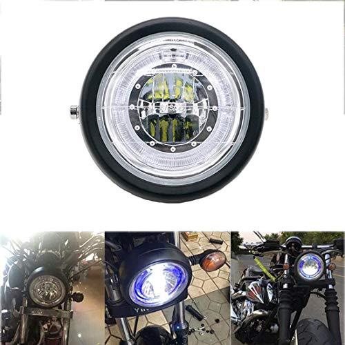 Motorrad Frontscheinwerfer Universal Retro Metallgitter Blauen Engel Augen Für CG125 GN125 Harley Cafe Racer Chopper Bobber