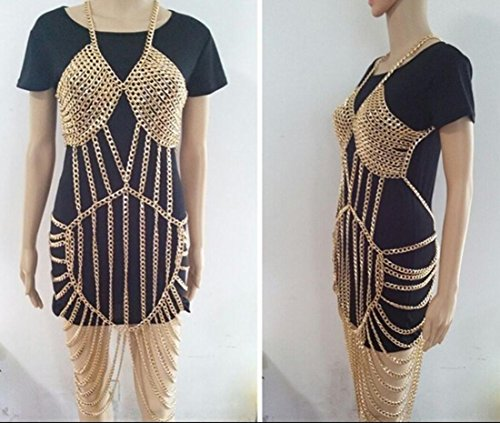 DuuoZy Frauen Sexy Harness Gold Metall Ganzkörper Kette Bauch Taille Mode Kostüm Kette BH Kleid Lange Körperschmuck