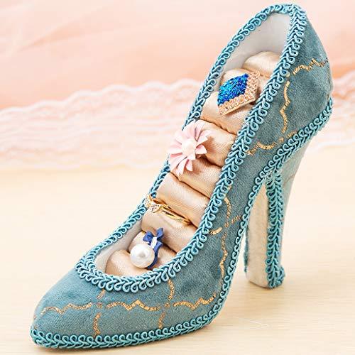 XKMY Soporte de exhibición Soporte de joyería de resina de soporte, Almacenamiento de joyas de forma de zapato exhibición de joyería de tacón alto, bandeja de soporte de anillo de dedo estilo