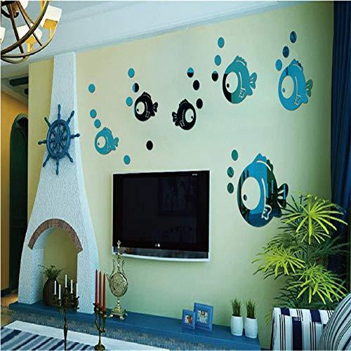 EUFJSDHF muursticker kleine zeepbel vis acryl spiegel muurstickers, een totaal van 11 kleine vis en 33 bellen voor het verfraaien van kinderkamer