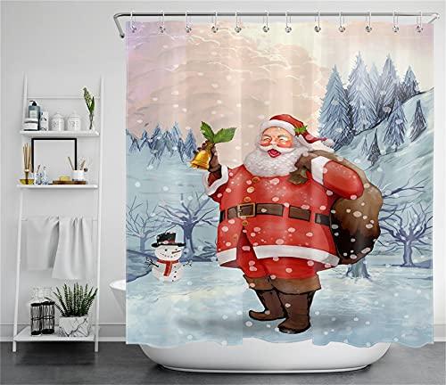 LB Weihnachtsmann Duschvorhang 240x175cm Schneemann am Schneeberg Antischimmel Wasserdicht Badezimmer Gardinen, Winterwaldlandschaft Extra Breit Polyester Stoff Bad Vorhang mit Haken