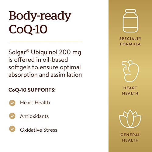 Solgar Ubiquinol 200 mg (Reduced CoQ-10), 30 Softgels - Promotes Heart & Brain Function - Supports Healthy Aging…