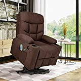 Healthy Relaxing Comfortable Electric Lift Power Recliner Heated Vibration Massage Chair Recliner Sofa Chair Brown, Body...